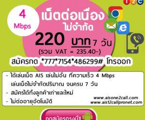โปรเน็ต 12 call รายสัปดาห์ 220บาท(รวมVAT.235.40) เล่นเน็ตความเร็ว 4Mbps